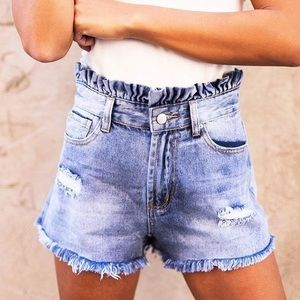 Pants - cinched High waisted jean shorts